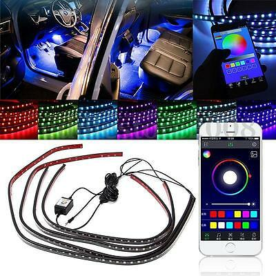 4x RGB LED Unterbodenbeleuchtung Atmosphäre Neon Licht App Musik Control Kit