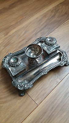Silver Plated Inkstand. Old Sheffield Plate.
