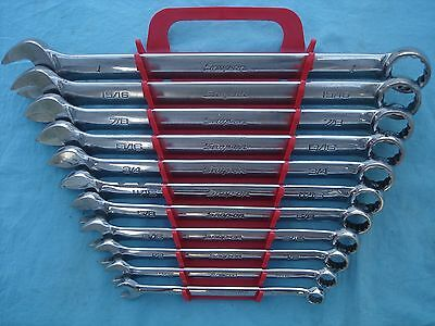 "SNAP ON SAE COMBINATION WRENCH SET #OEX711B 3/8""-1"" 11 PC w/RACK  NICE !"