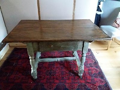 Oak/Elm Antique Dining /Kitchen Table with Drawer and Painted Legs