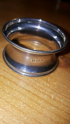 Solid Silver Napkin Ring. Birmingham. Hallmarked WHL anchor, lion X