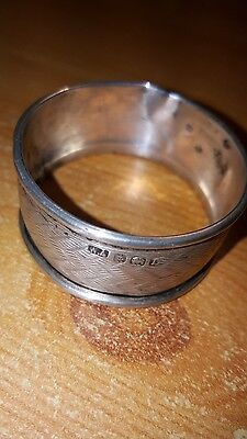 Solid Silver Napkin Ring. Birmingham. Hallmarked WA anchor, lion L