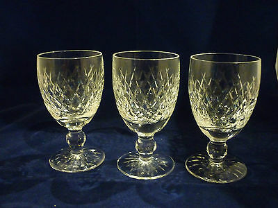 WATERFORD Quality Cut Crystal Set of 3 Red Wine Claret Glasses Cut Foot BOYNE A+