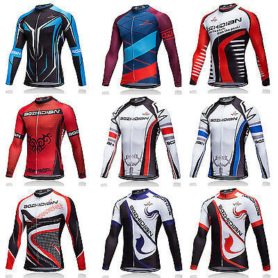 Men's Long Sleeve Bike Clothes Tops Bicycle Cycle Cycling Jersey Shirts S-5XL