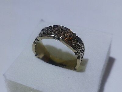 BEAUTIFUL 9ct Gold Patterned Wedding Band Ring 5.6 GRAMS