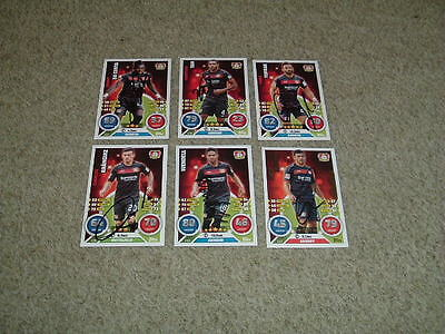 Bayer Leverkusen - Set Of 6 Signed 16/17 Match Attax Cards From Germany