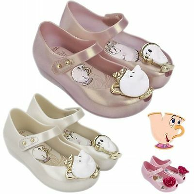 UK Beauty And The Beast Girls Kids Princess Shoes Jelly Gel Sandals Pearl Ballet