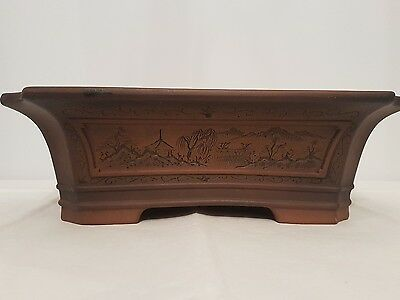 "japanese tokoname bonsai pot by ""bigei"" high class etched & painted landscape"