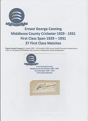 Ernest Canning Middlesex Cricketer 1926-1936 Rare Original Hand Signed Cutting