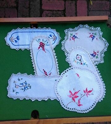 Vintage Linen Embroidered Doilies-Crochet Edged x 6-Tray & Circular in shape