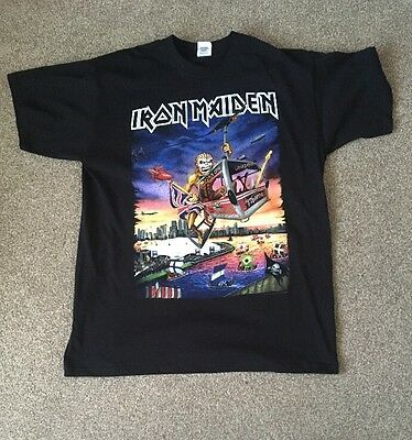 Iron Maiden The Book Of Souls 2017 London O2 Event Shirt Dates On Back Size L