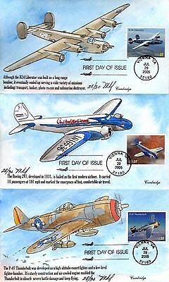 Hand-painted set of 10 ADVANCES IN AVIATION by Mary Kay Fisher