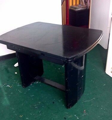 Antique MAHOGANY PEDESTAL DINING PULL-OUT EXTENDING TABLE DESK HandPainted Black