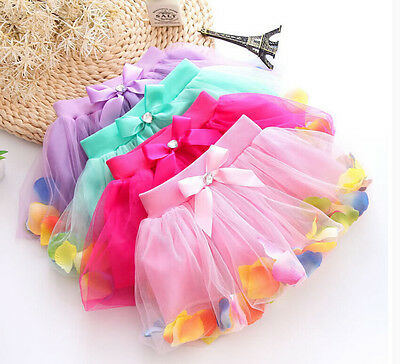 USA Stock Kids Baby Girls Petals Tutu Tulle Skirt Princess  Party Dress 3-8Y clo
