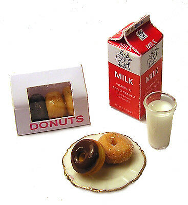 Dollhouse Miniature Donuts and Milk - Handmade 1:12 scale