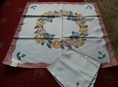 """Floral Tablecloth 34"""" Square C/w 4 Napkins- New With Tags"""