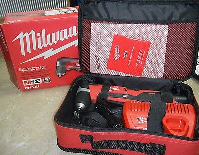 "New Milwaukee M12 3/8"" 2415-21 Cordless Right Angle Drill Kit"