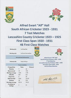 Alf Hall South Africa Test Cricketer 1923-31 Very Rare Orig Hand Signed Cutting