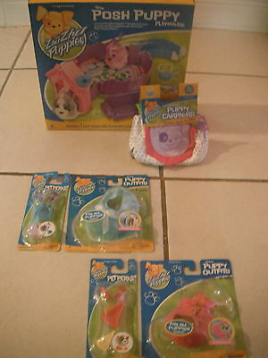 NEW ZHU ZHU PUPPIES LOT 6: POSH PUPPY PlayHouse CARRIER Clothes PET PERKS