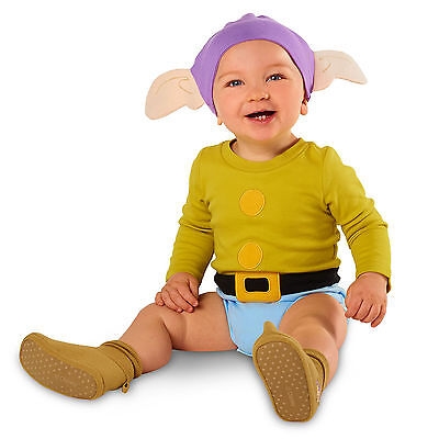 NEW Disney Store DOPEY Dwarf BABY COSTUME 18-24M Bodysuit Hat INFANT OUTFIT