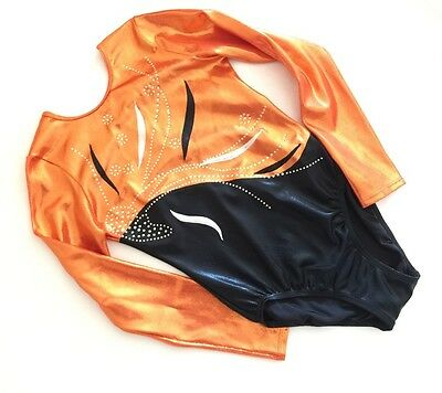 Fleur girls long sleeve orange/black gymnastics leotard by lilachelene size 34