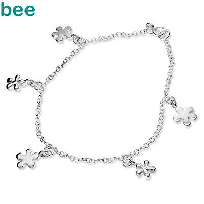 New 925 Sterling Silver Daisy Anklet Chain 24cm 1415424
