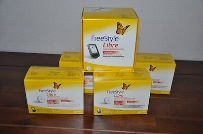 ** 4 Sensor + 1 Reader mmol/dl Abbott Freestyle Libre. fast free shipping **