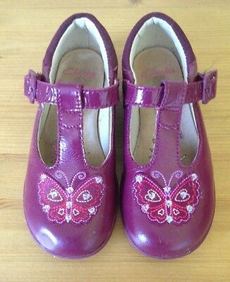 Girls Clarks Berry Patent Leather Buckle light Up shoe UK 7.5 F TRIXISWEET VGC