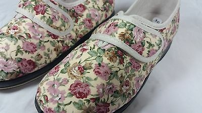 Womens Floral Cotton Fabric Wide Fit Velcro Slippers size 6