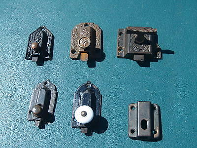 6 Early Cabinet Latches / Parts, 5 Cast Iron, 3 Ornate, 2 Gothic, 1 Steel Case