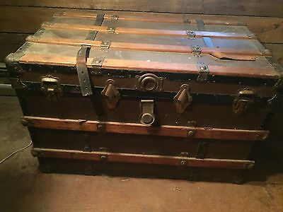 """Antique Steamer Trunk 36"""" x21 X 22 Large Storage Box Vintage Chest Coffee Table"""
