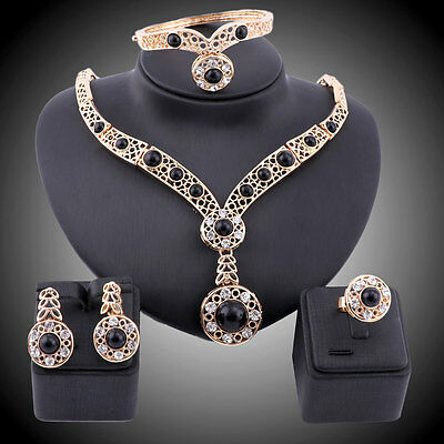 Women Statement Gold Plated Crystal Black Turquoise Gem Necklace Jewelry Sets