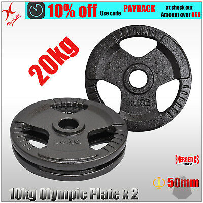 10Kg X 2 Olympic Weight Plate - Energetics Weight Plates - Home Gym - Total 20Kg