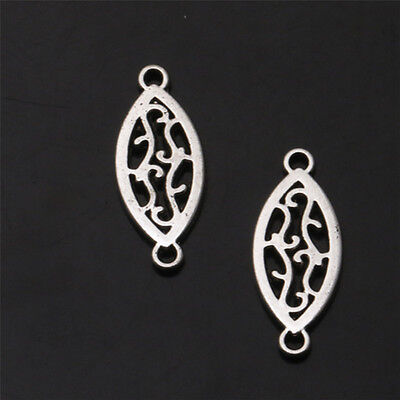 10 PCS Hollow Oval Tibetan Silver Charms Jewelry Finding Connectors