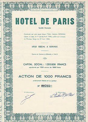 Hotel de Paris S.A.-Action 1000 Francs von 1946