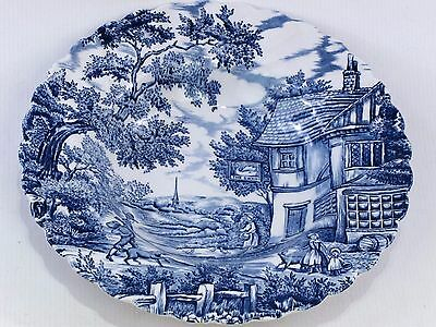 """Blue & White Plate of 'The Hunter ' by Myott made in England 9"""" Nominal Diameter"""