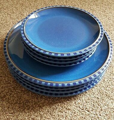 Denby Reflex Blue 4 X Dinner Plates and Side Plates. Great condition.