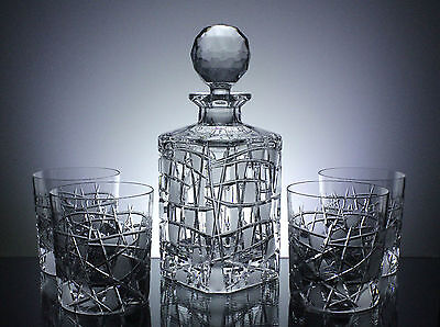 Hand Cut Lead Crystal Whiskey Set Decanter & 4 Whisky Tumblers Gift Box 24% PbO