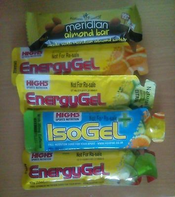 4 High5 Energy Gels and a Meridian bar