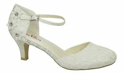 Ivory Satin & Lace Low Heel Corsage Mary Jane Bridal Wedding Shoes Size 3 - 9 Uk