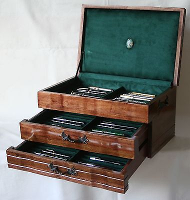 Fountain Pen Chest, #561, Vintage, Hand-Crafted, Holds 66 Pens, Solid Wood, Usa