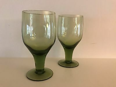 Milnor Denby Arabesque Moss Green Swedish Water/Juice Goblet Glass - Set of 2