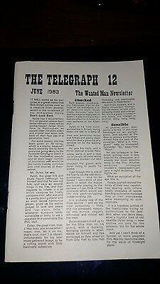 "Bob Dylan ""The Telegraph""  the Wanted Man Newsletter Vol. 12 June  1983"