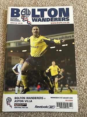 Bolton Wanderers v Aston Villa (League Cup Semi-Final) 2003-2004