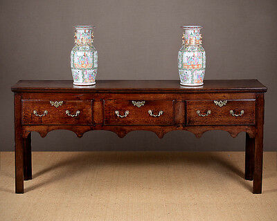 Antique Georgian Oak Open Welsh Dresser Base c.1780