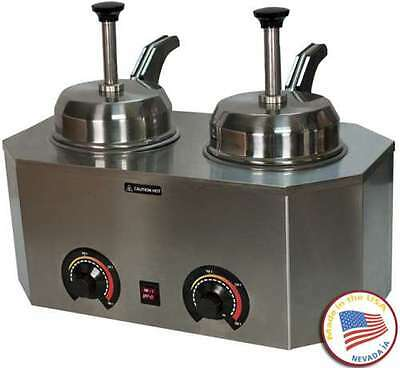 Commercial Dual Pump#10 Can Warmer Fudge Caramel Cheese Heated Spouts Back Cntrl