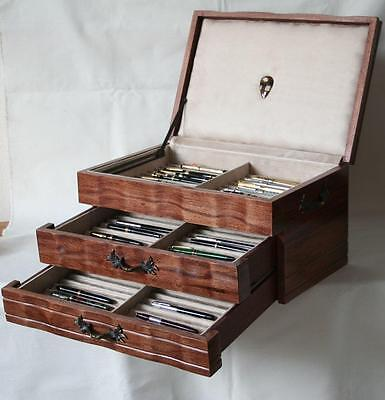 Fountain Pen Chest, #564, Vintage, Hand-Crafted, Holds 66 Pens, Solid Wood, Usa