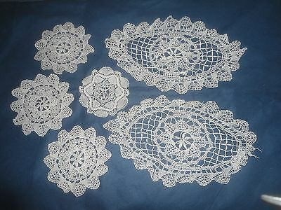 6 Very Pretty White Lace Doilies Or Table Centres