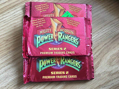 3 sealed packs of mighty morphin power rangers series 2 trading cards