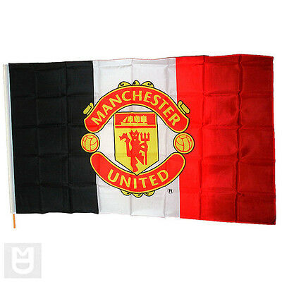 Tricolour Manchester United Flag With Club Crest